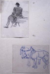 Twee schetsjes: zittende man en trekpaarden