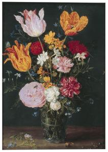 Stilleven van bloemen in een glazen beker