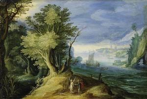 Rivierlandschap met Tobias en de engel