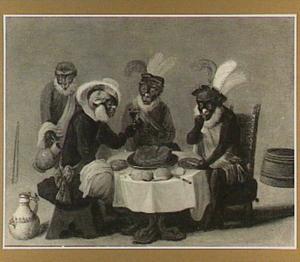 Geklede apen, drinkend en etend aan een gedekte tafel