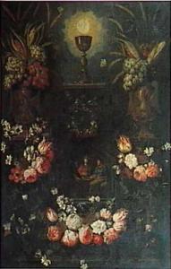Vruchten en bloemen rond een Laatste Avondmaal, een lauwerkrans en het Heilig Sacrament