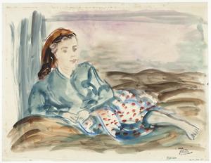Portret van Sabine Fiedler, liggend met een hoofddoek