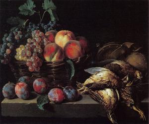 Stilleven van fruit en dood gevogelte
