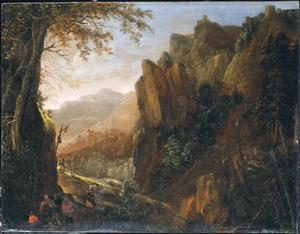 Berglandschap met reizigers bij een herberg op een bergpas, in de verte houthakkers