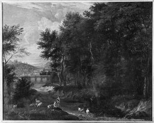 Landschap met brug en rustende herders
