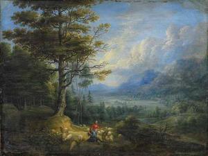 Boslandschap met een schaapherder en herderin