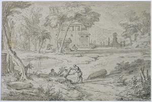 Arcadisch landschap met figuren bij een meer