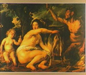 Het kind Jupiter wordt gevoed door de geit Amalthea