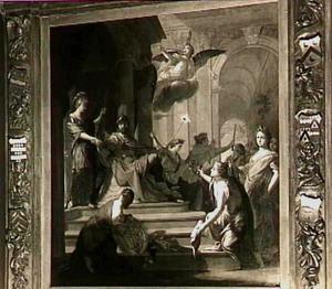 Apollo en Minerva als personificaties van Matigheid en Wijsheid wijzen aardse rijkdom af