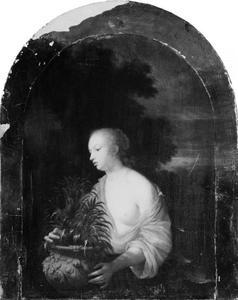 Jonge vrouw met een bloempot