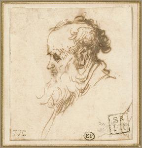 Kop van een oude man met baard, en profiel naar links