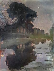 Landzicht farm with reflection in water
