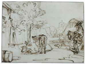 Dorpsstraat met ruiter, koeien en kerkgebouw