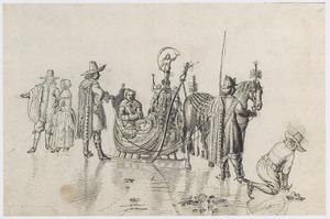 Dame in een arreslee met figuren op het ijs
