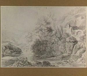 Italianiserend rotslandschap met ruïne en waterval