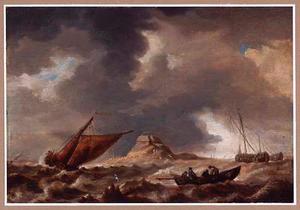 Schepen in stormachtig weer nabij een eiland