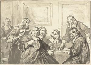 Groepsportret van  de Overlieden van het Sint- Lucasgilde te Haarlem,1675