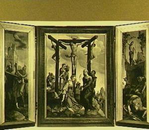 De kruisdraging (binnenzijde links), de kruisiging (midden), de opstanding (binnenzijde rechts); portret van de stichter (buitenzijde links), portret van de stichtster (buitenzijde rechts)