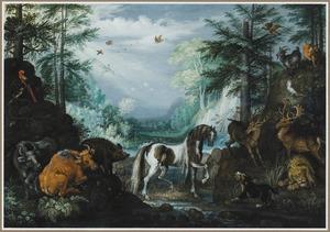 Boslandschap met koeien, een paard en herten, links op de achtergrond de bekering van Sint Hubertus