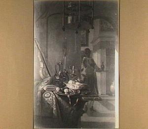 Stilleven met fruit, glas en viool in een rijk interieur met een moor