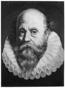 Portret van een ouder man met een grote gesteven plooikraag