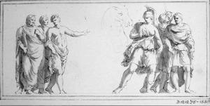 Mannen met lauwerkransen, Romeinse soldaat en andere figuren
