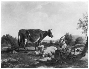 Landschap met koe, schapen en boerin