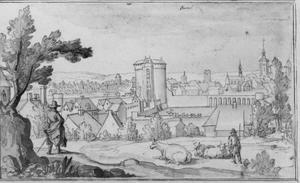Panoramisch uitzicht op Brussel met links de kunstenaar Remigio Cantagallina zelf