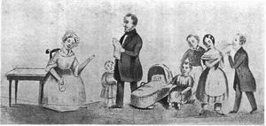Portret van Franciscus Johannes Kroesen (1801-1878) en zijn gezin