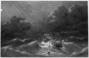 Schip op zee tijdens een storm