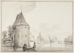 Gezicht op de Kalkmanstoren en de Zandpoort in Culemborg
