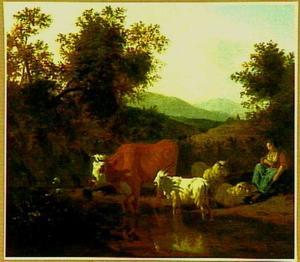 Bebost berglandschap met rustende herderin en haar kudde aan de oever van een riviertje