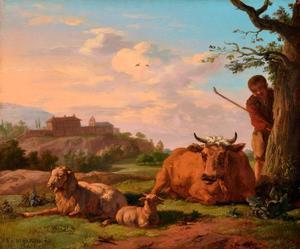 Zuidelijk landschap met een herder en vee