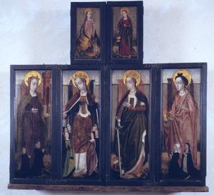 H. Barbara met stichters, H. Ursula (buitenzijde linkerluiken); H. Catharina, Maria Magdalena met stichtsters (buitenzijde rechterluiken); H. Margaretha (buitenzijde linker bovenluik); H. Dorothea (buitenzijde rechter bovenluik)