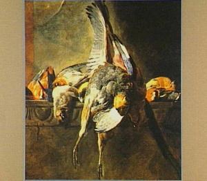 Stilleven van gevogelte op een stenen plint