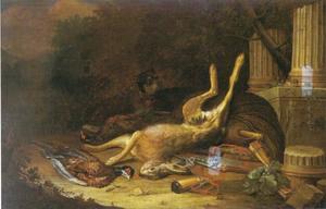 Jachtstilleven met jachthond met dode haas en fazant