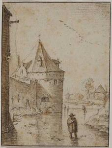 de Utrechtse waltorens De Wolf en De Vos gezien vanaf de bevroren gracht tussen de stadsmuur en het aarden bolwerk Wolvenburg