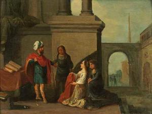 De vrouw van Potifar beschuldigt Jozef voor haar man (Genesis 39:16-17)