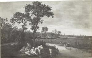 Landschap met badende figuren