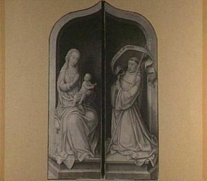 Maria met kind en de H. Bernardus (in geopende toestand: de annunciatie, heiligen en stichters)