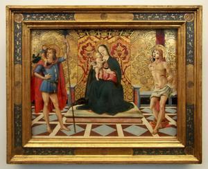 Maria en kind met de heilige Christopher en Sebastiaan