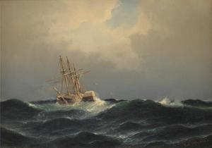 Stoomschip in een storm op de Atlantische Oceaan