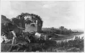 Arcadisch landschap met koeherders naast een ruïne
