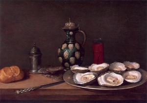Stilleven met oesters, kruik, strooirbus en brood voor een nis
