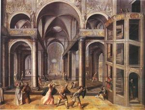 Christus verjaagt de geldwisselaars met een zweep uit de tempel