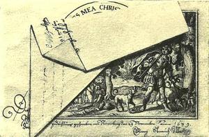 Trompe-l'oeuil met voorstelling van Diana en Actaeon onder een gevouwen blad papier