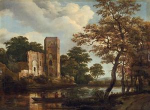 Bebost rivierlandschap met een ruïne