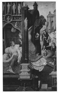 Een engel verkondigt Rochus dat hij is besmet met de pest. In de achtergrond: Rochus wordt weggejaagd