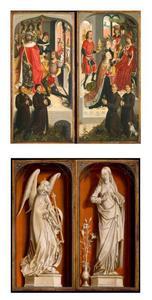 De boodschapper van Abner voor koning David, en twee stichtersportretten (binnenzijde links), de koningin van Seba komt voor Salomo met een talrijk gevolg en brengt vele geschenken, en twee stichtersportretten (binnenzijde rechts); de annunciatie: de engel Gabriël (buitenzijde links; in grisaille), de annunciatie: Maria (buitenzijde rechts; in grisaille)