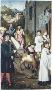 Legende van het leven van de H. Dymphna: het lichaam van de H. Dymphna wordt teruggebracht naar Geel (op de buitenzijde: twee mannelijke heiligen (in grisaille))
